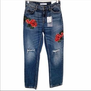 Zara Basic Denim Relaxed Embroidered Jeans Size 0